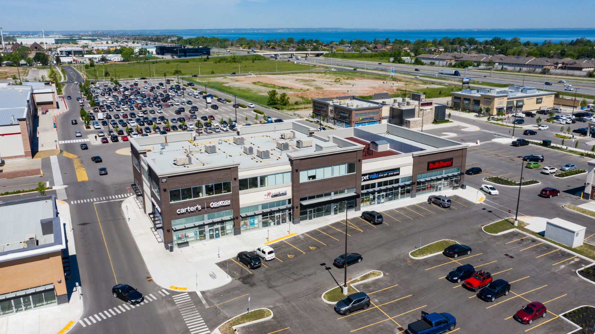 Drone image of a commercial building