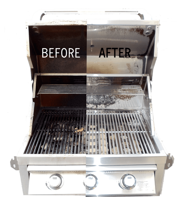 Comparison between a clean and dirty barbeque. One of the steps to take when preparing your home for summer