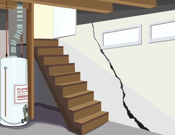 A picture of a basement, with a cracked foundation. This highlights the importance of checking the interior and exterior foundation of the home (especially the basement) for any cracks that arose from the winter months.