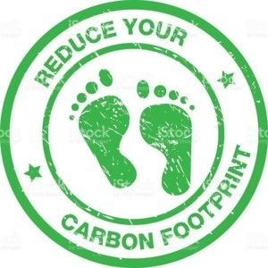 A circle logo with green writing that reads: Reduce Your Carbon Footprint. The logo features two green footprints in the center.