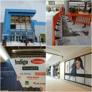 A photo collage with four pictures. The top left is an exterior photo of the burlington mall during renovation. The top right is an interior shot of the renovation. The bottom left is an interior photo of the renovation, and bottom right is the completed interior of a Winners storefront.