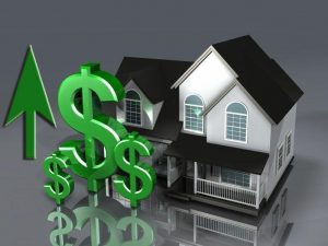 A house with three green dollar signs in front with an arrow pointing upwards.